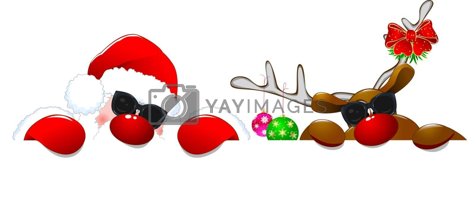 Santa Claus and a deer on a white background. Cartoons Santa Claus  and a reindeer in sunglasses.