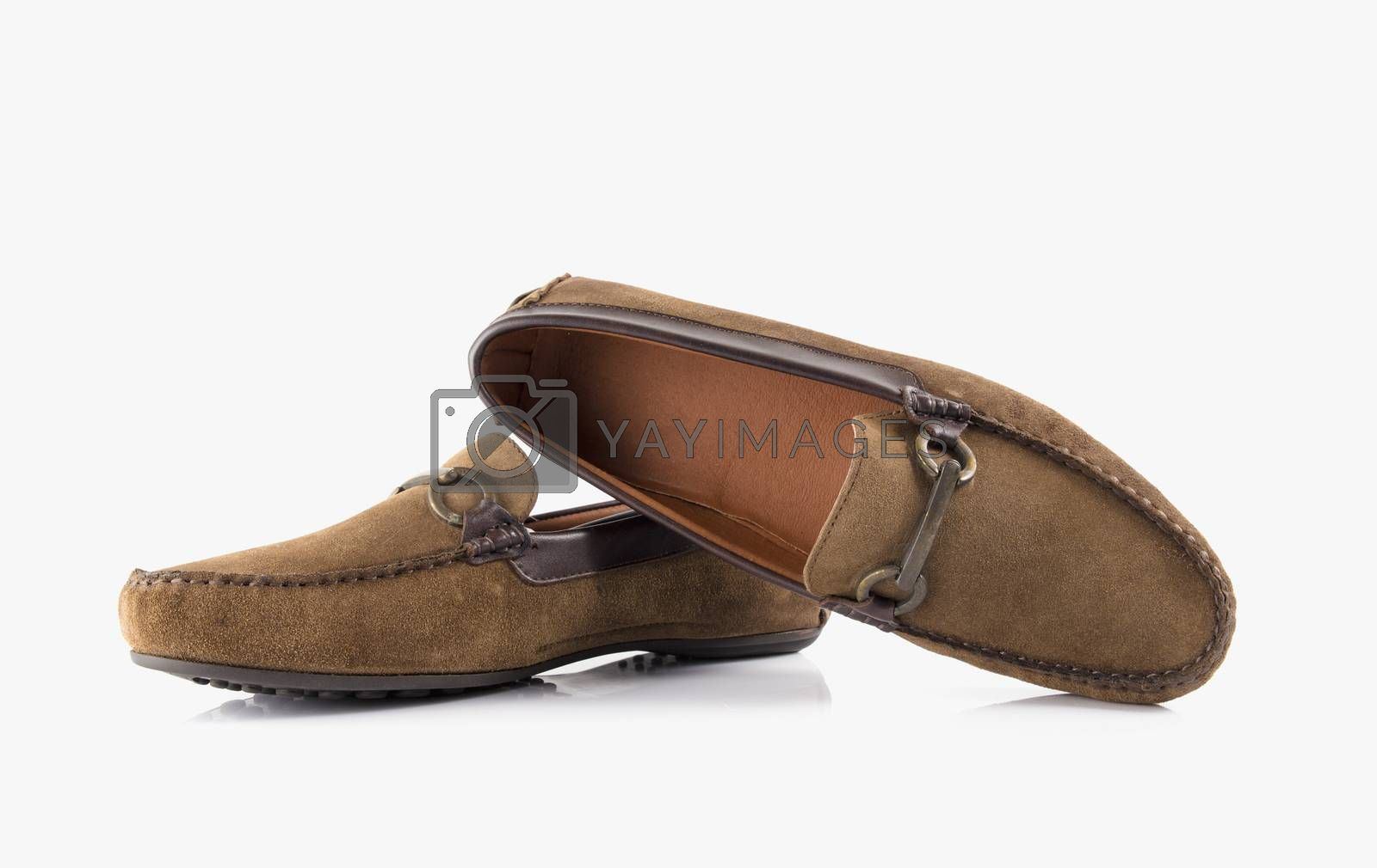 Male brown leather shoes on white background, isolated product.