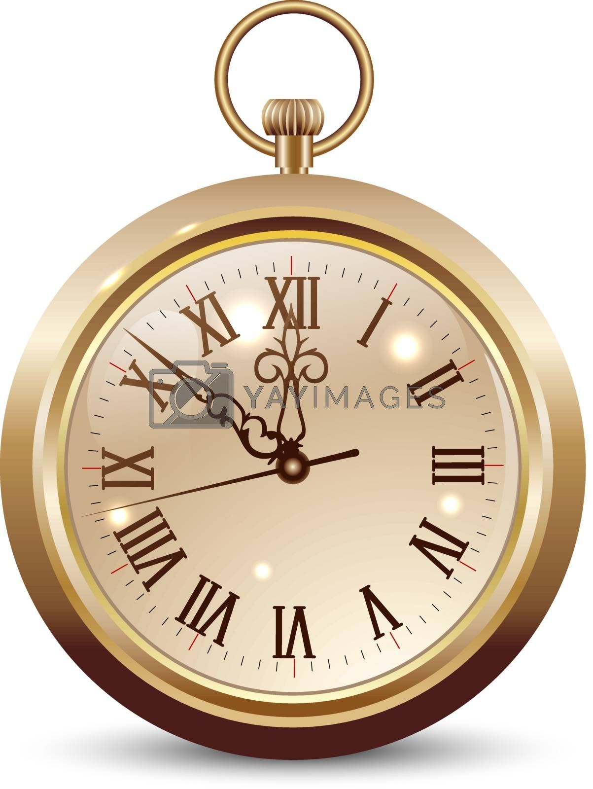 Pocket watch isolated on a white background. Design element. Pocket watch in gold color.