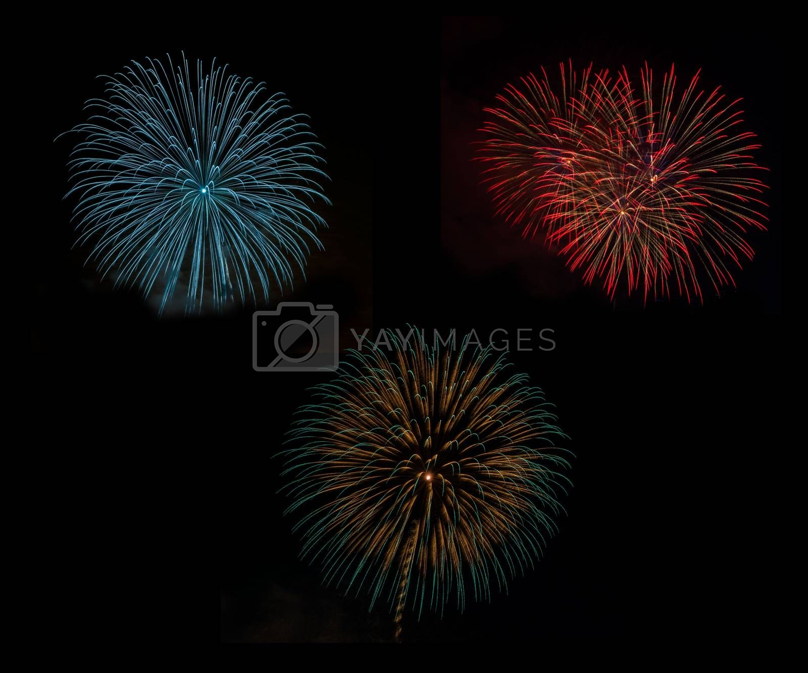 Fireworks set in celebration night on black background