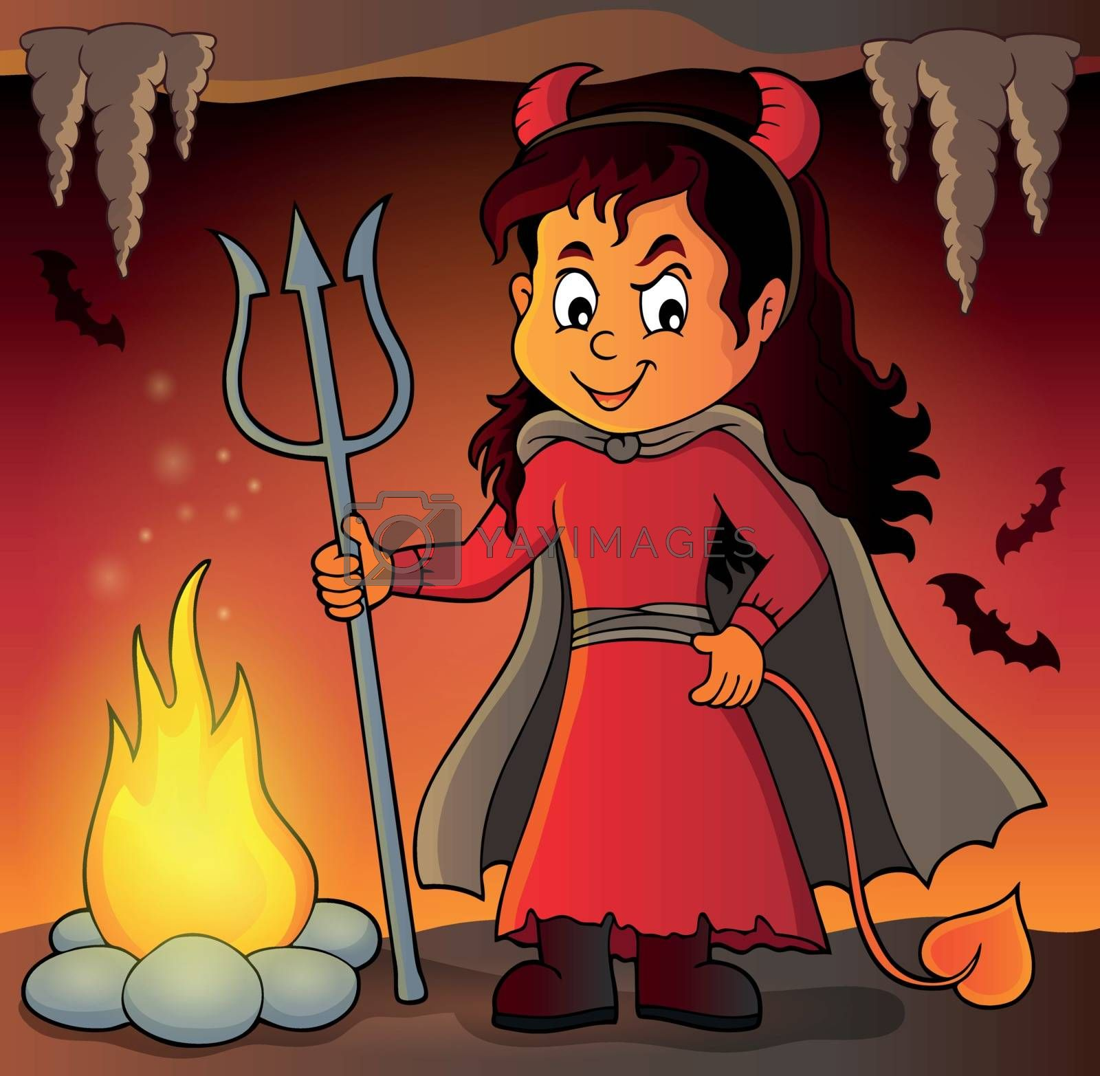 Girl in devil costume image 2 - eps10 vector illustration.