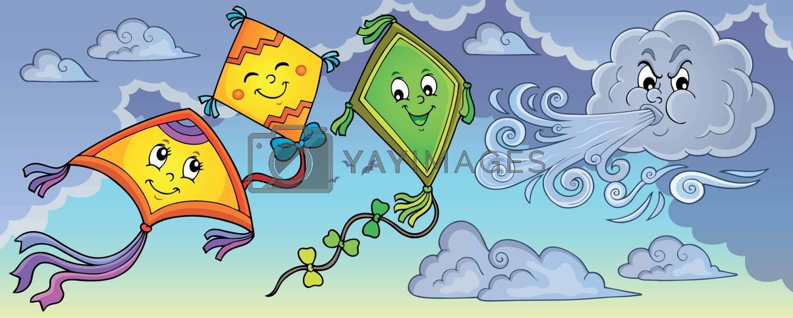 Happy autumn kites topic image 1 - eps10 vector illustration.