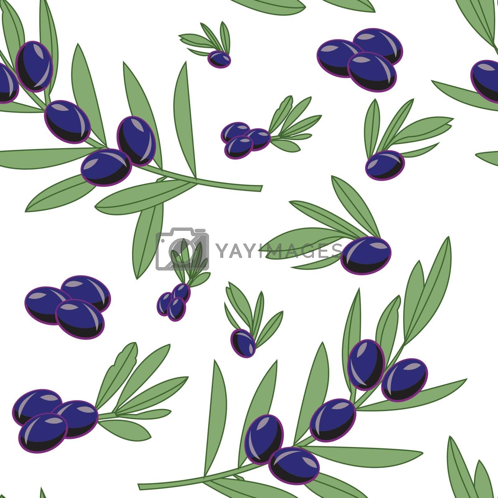 This illustration represents seamless pattern of some branch of olives, with pale background.