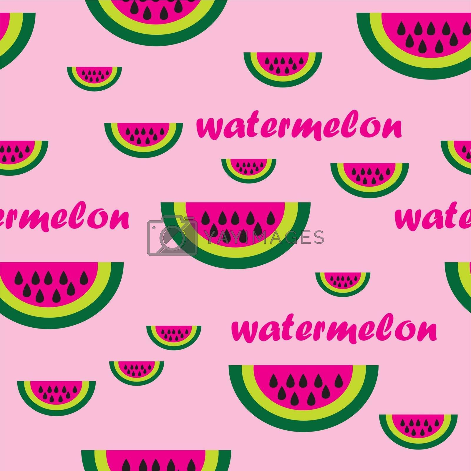 This image represent a seamless pattern of watermelon with pink background.