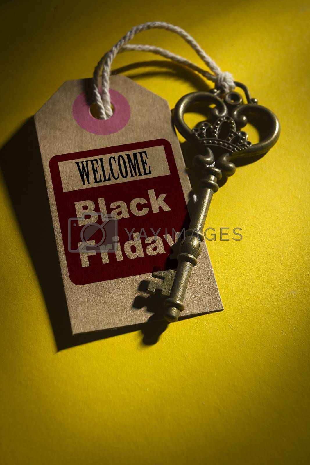 Vintage Key with Welcome Label - Black Friday