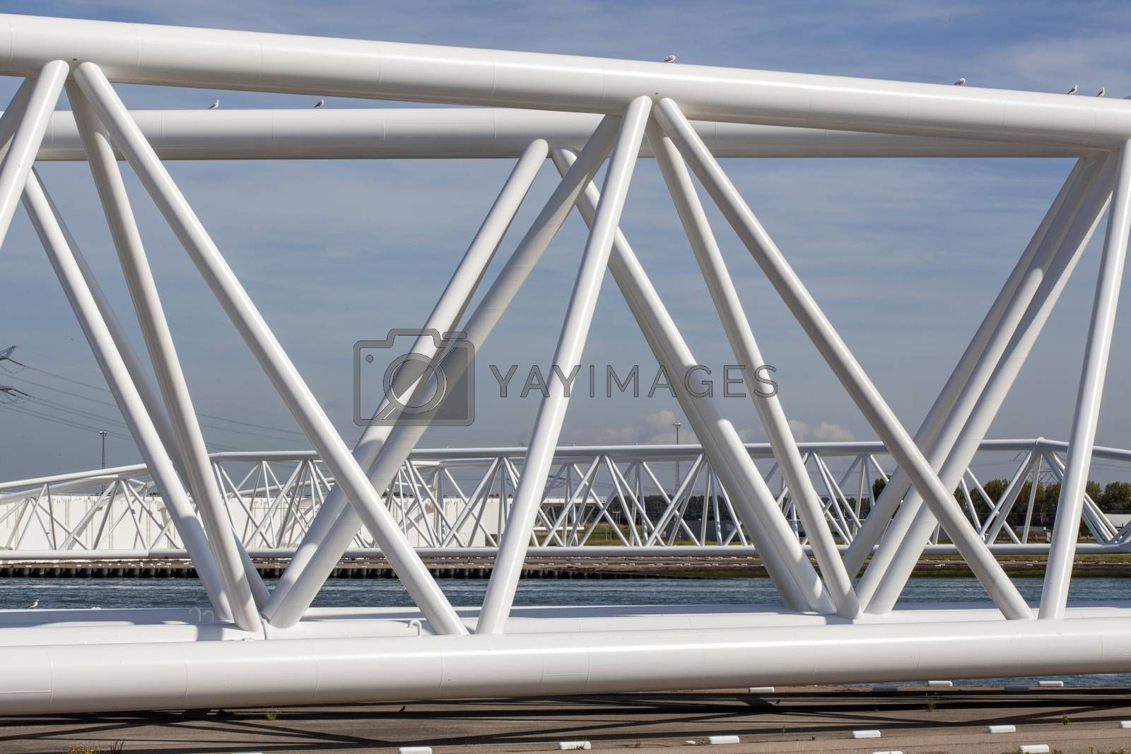 Maeslantkering storm surge barrier on the Nieuwe Waterweg Netherlands it closes if the city of Rotterdam is threatened by floods and is one of largest moving structures on earth