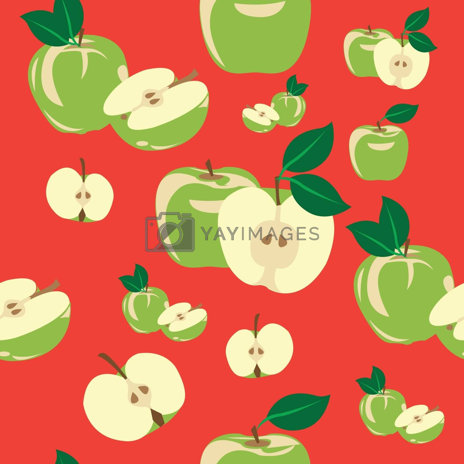 Seamless pattern of some green apples with red background.