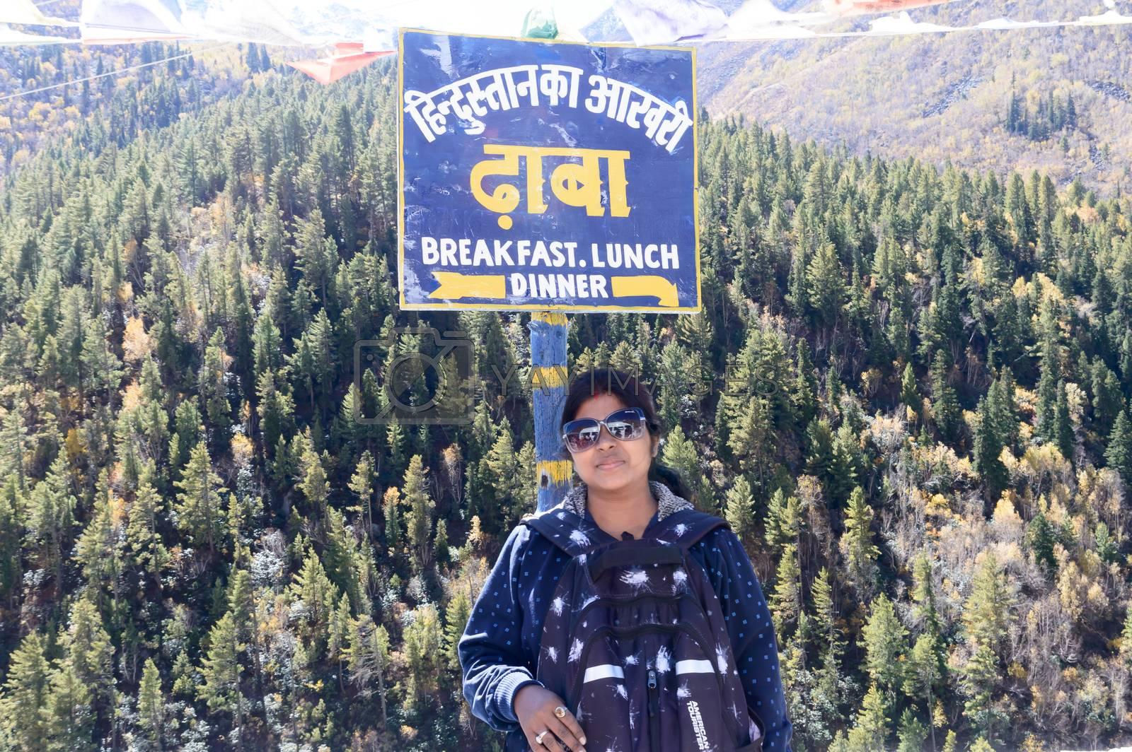 Hindustan ka Aakhri Dhaba, Chhitkul, Sangla valley, Kinnaur district, Himachal Pradesh, India October 2019 – Sign Board of Last Dhaba roadside restaurant last inhabited Village on India-China Border. Indian road ends here.