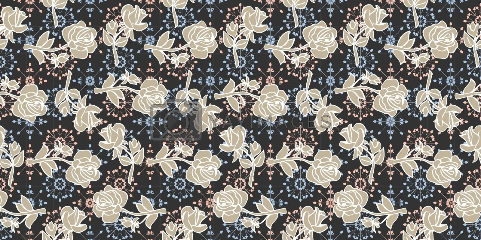 Vector Hand drawn Seamless pattern with flowers roses on navy background.