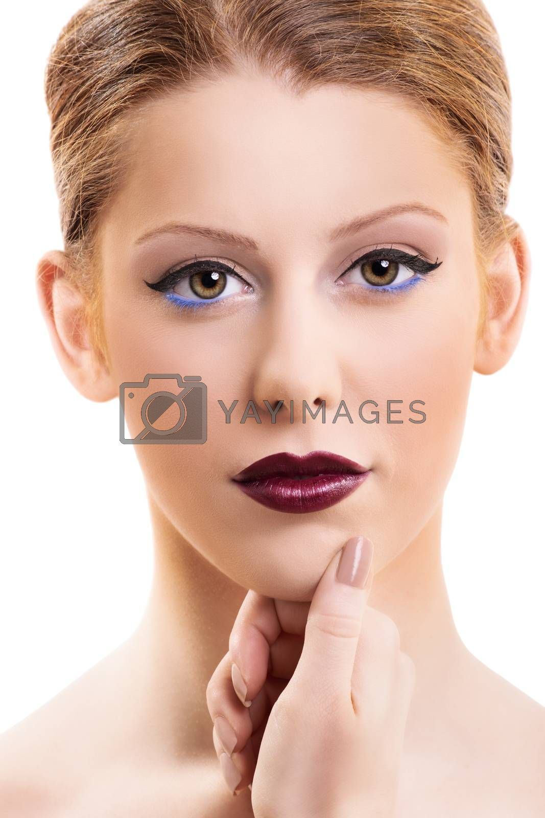 Close up portrait of a beautiful female model with make up, red lipstick and clean skin, isolated on white background