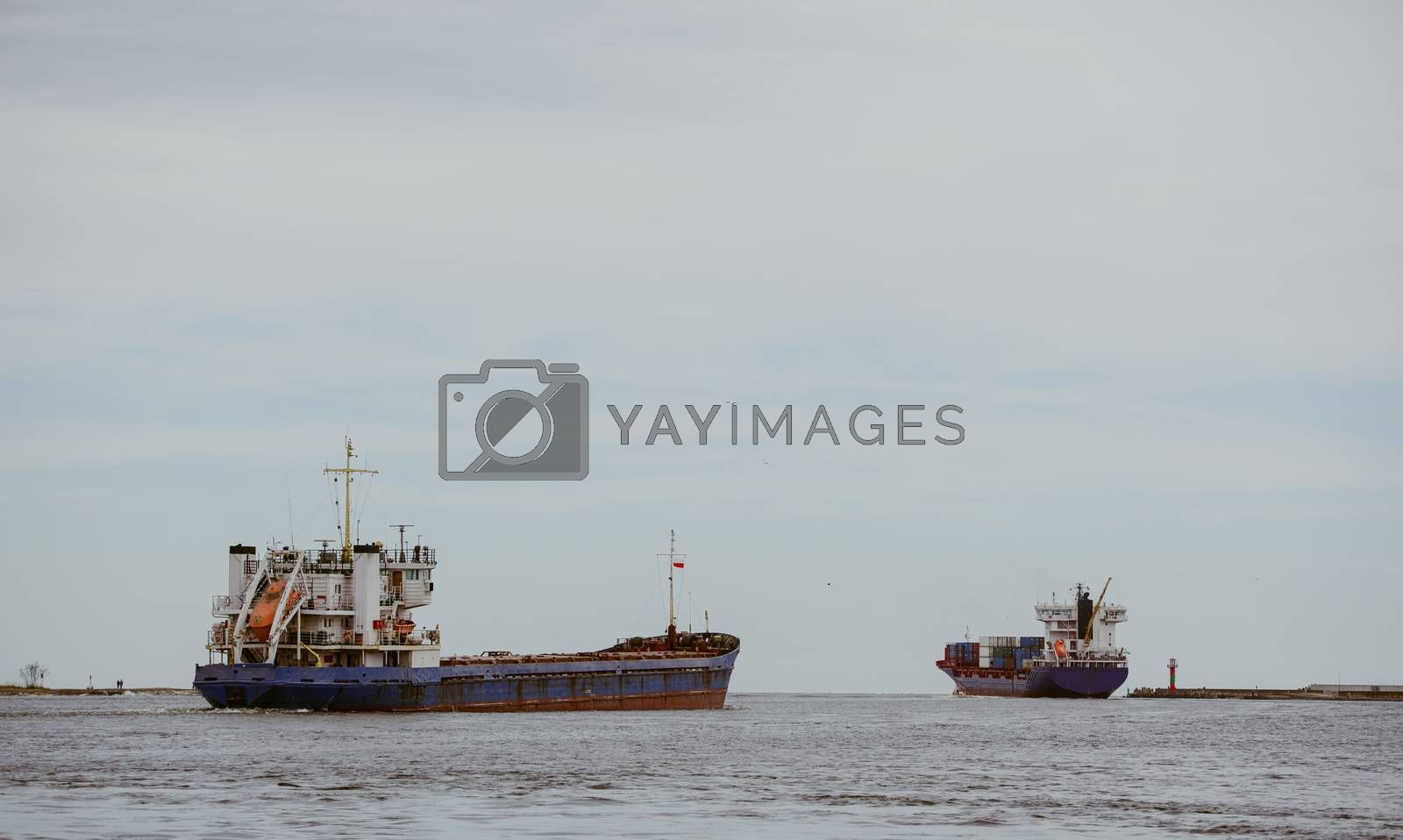 Transport vessels depart from the port to the open Baltic Sea by Brejeq