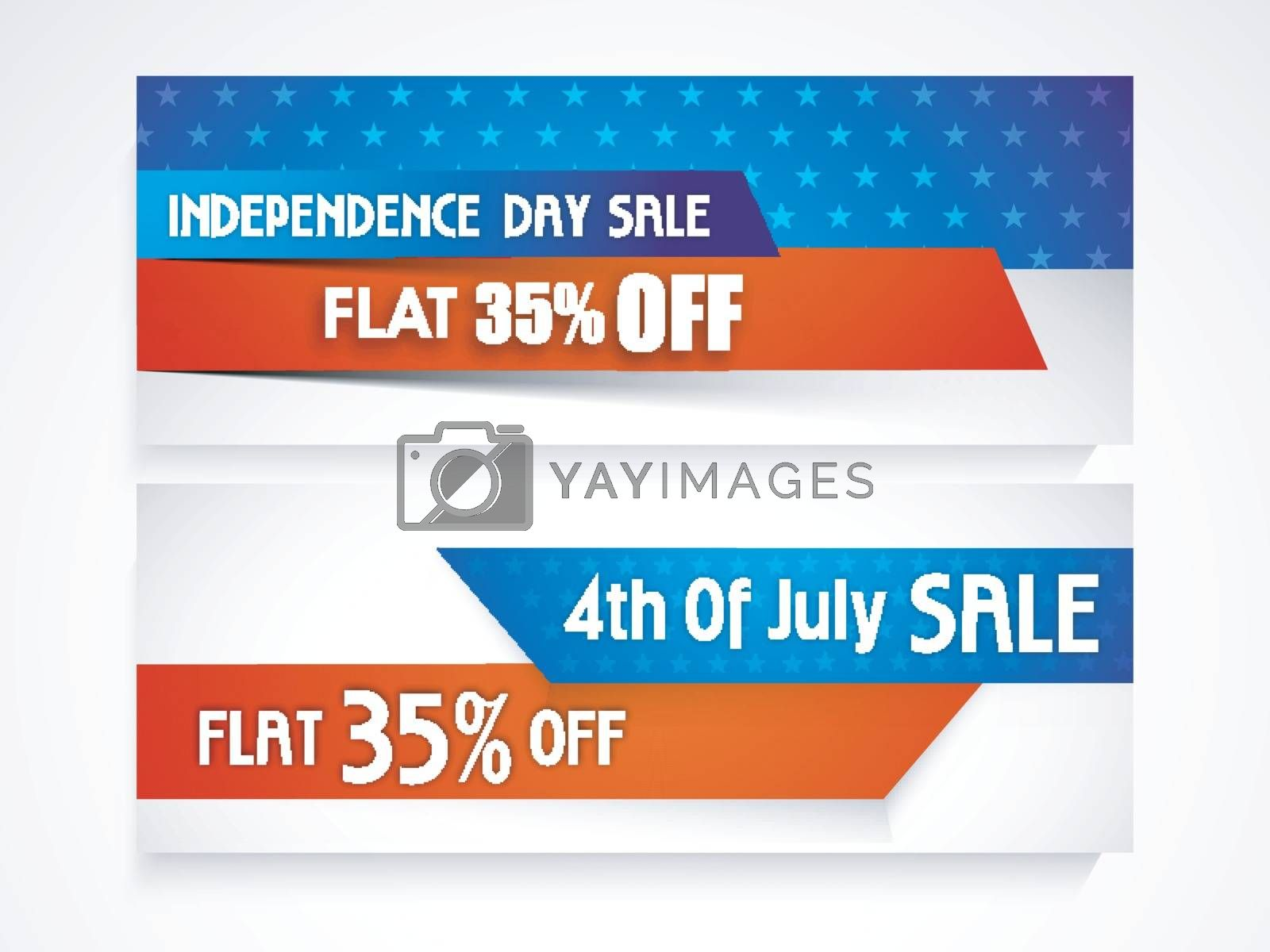 4th of July Sale and Discount website headers or banners set in American Flag colors.