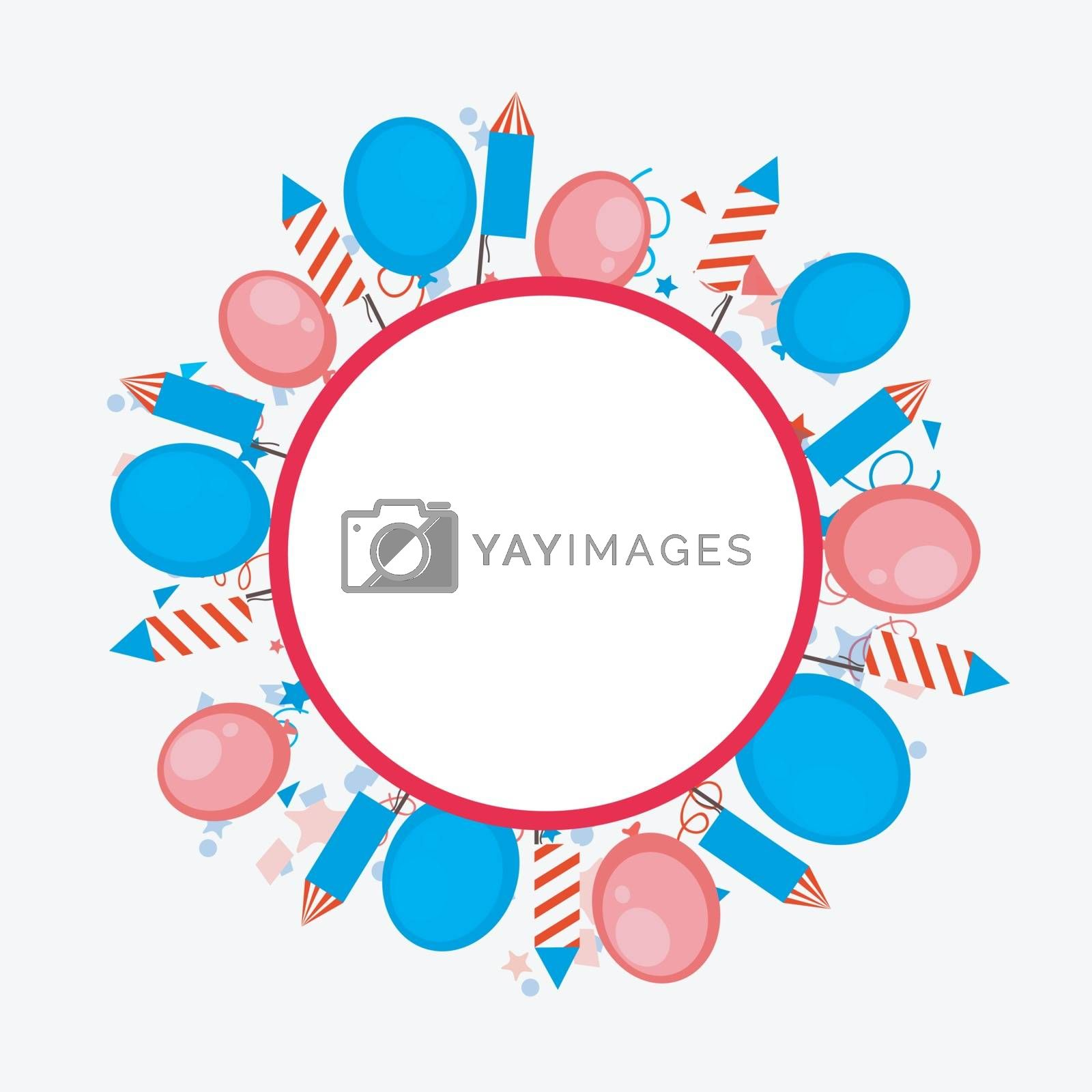 4th of July celebration background decorated with American Flag color balloons, rockets and confetti.