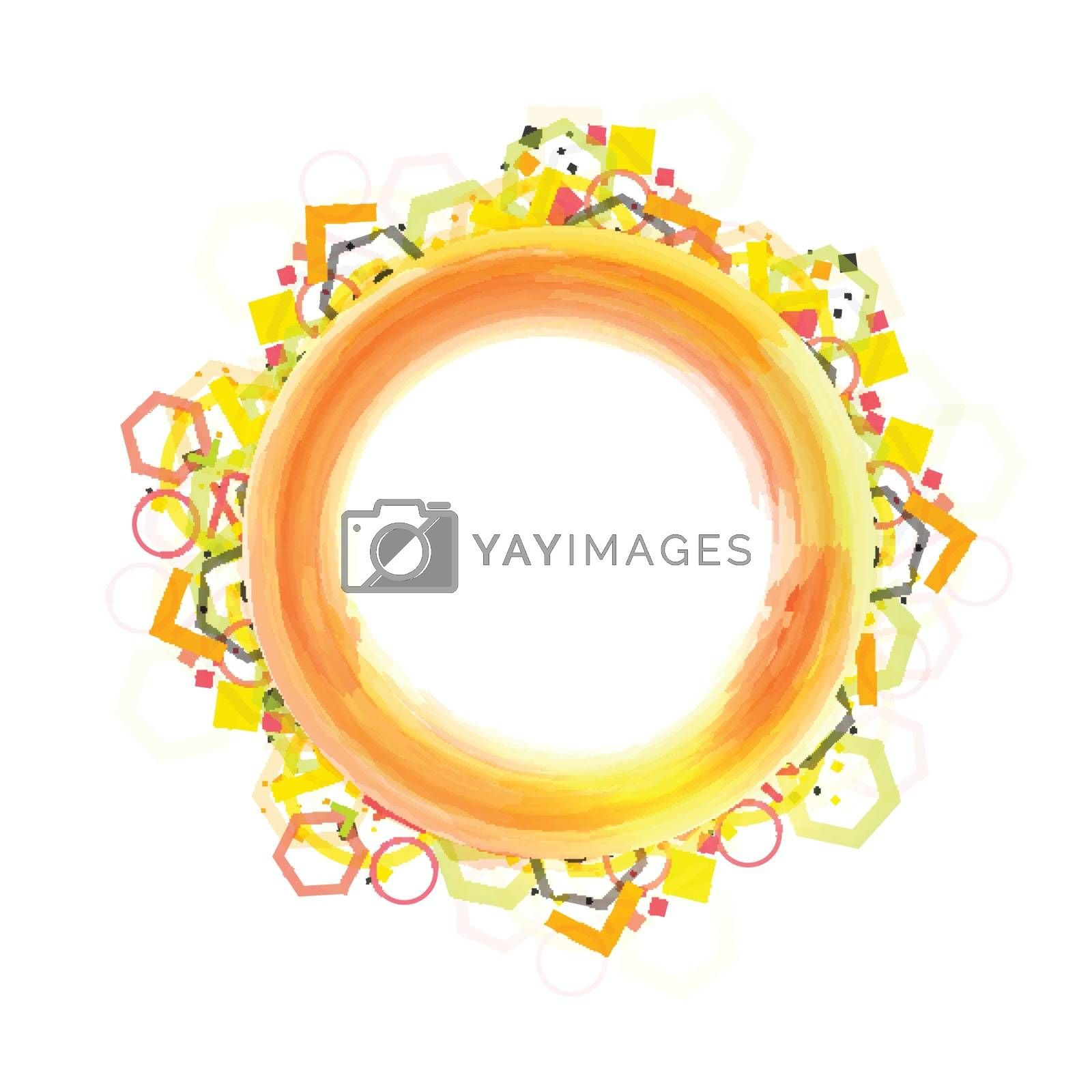 Colorful circular frame on white background.