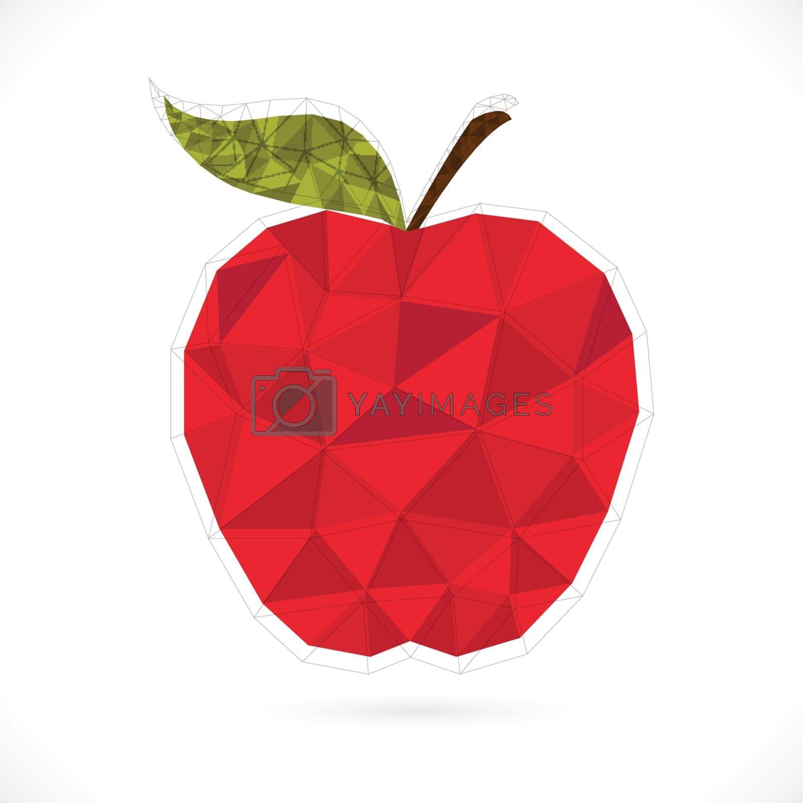 Origami apple design on white background.