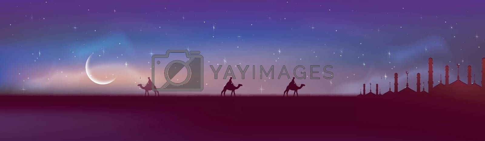 Beautiful night view of desert with mosque silhouette. Creative social media banner design for Muslim Community Festival, Ramadan Kareem.