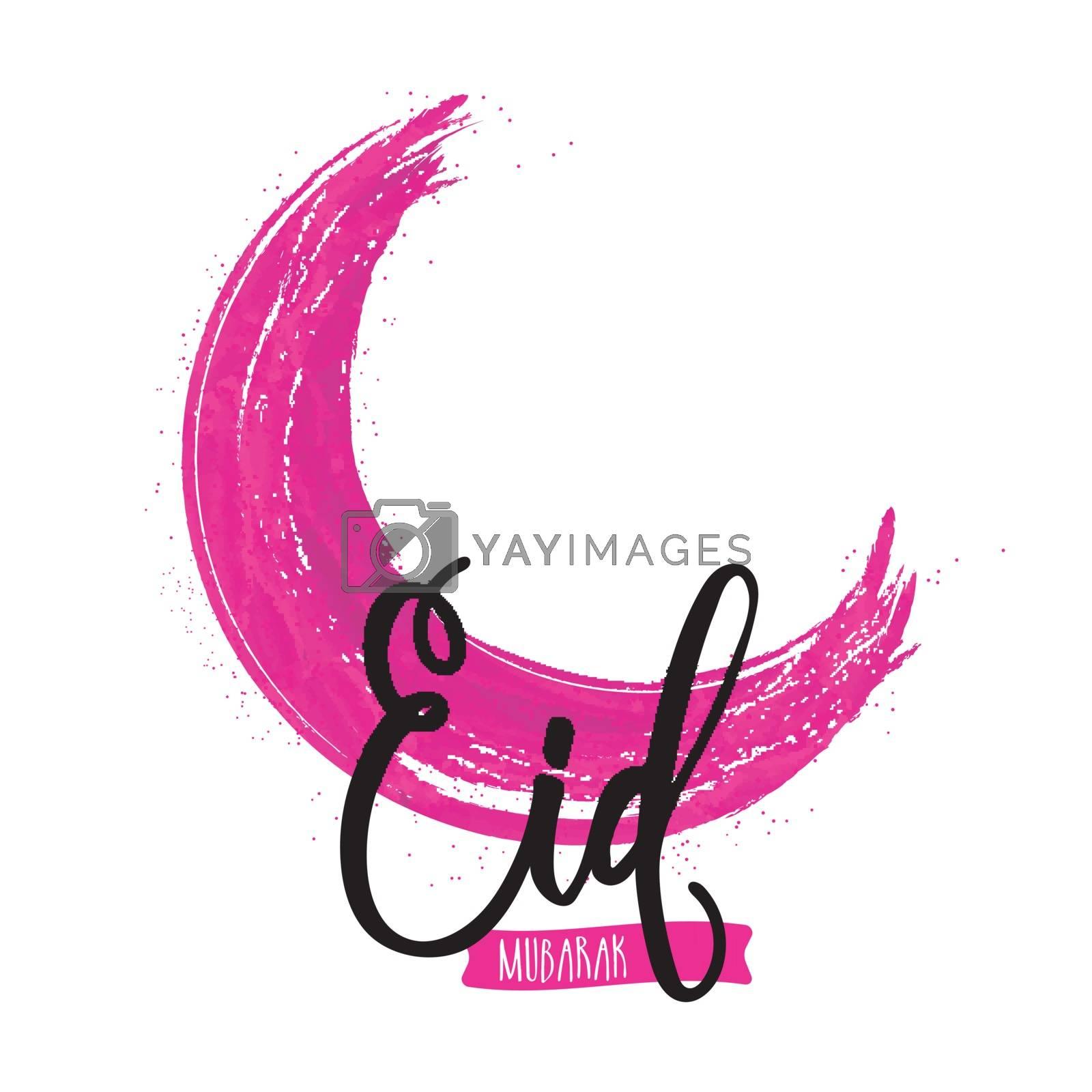 Crescent Moon made by watercolor brush stroke for Muslim Community Festival, Eid Mubarak celebration.