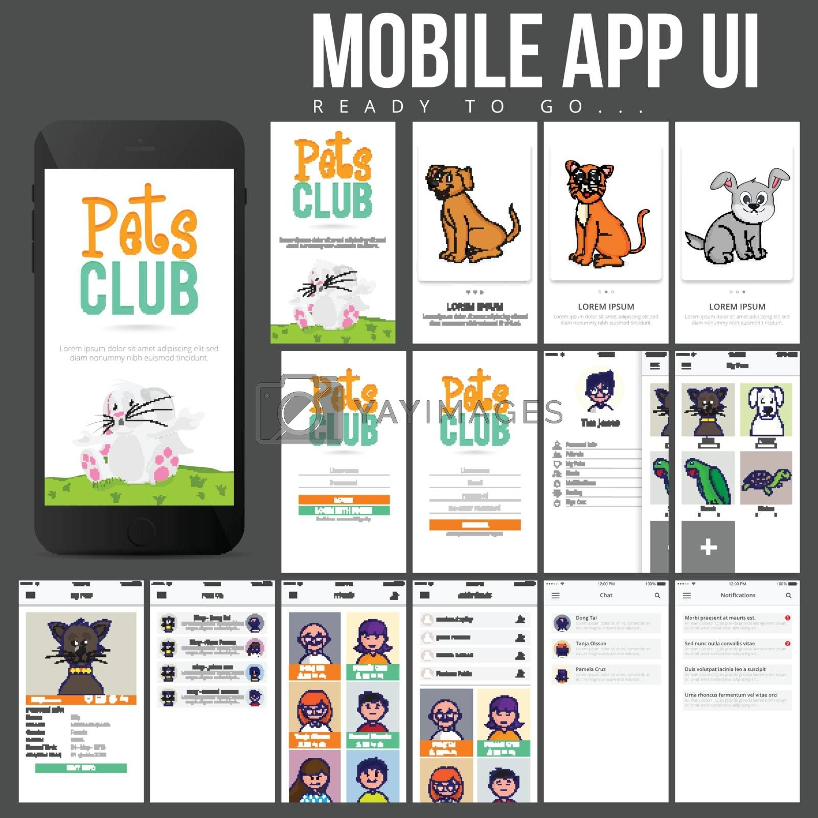 Pets Club Mobile App UI, UX and GUI template kit with various screens presentation.
