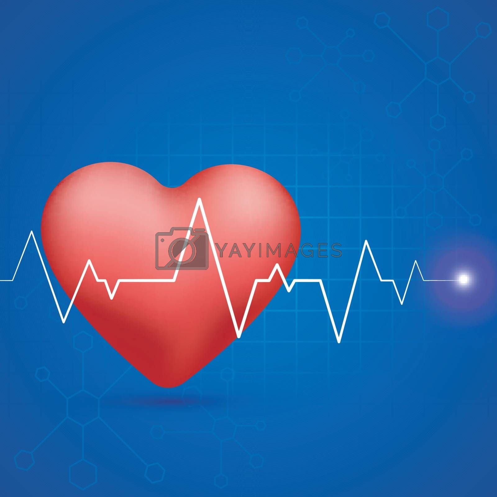 Glossy red heart with white heartbeat pulse on blue molecules background for Medical concept.