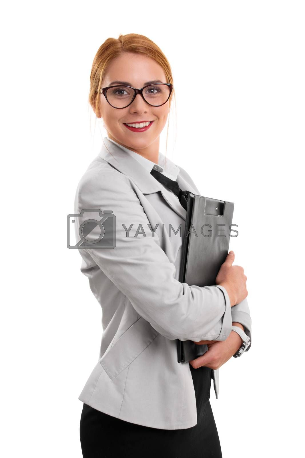 Portrait of a beautiful smiling young fashionable businesswoman holding a clipboard, isolated on white background.