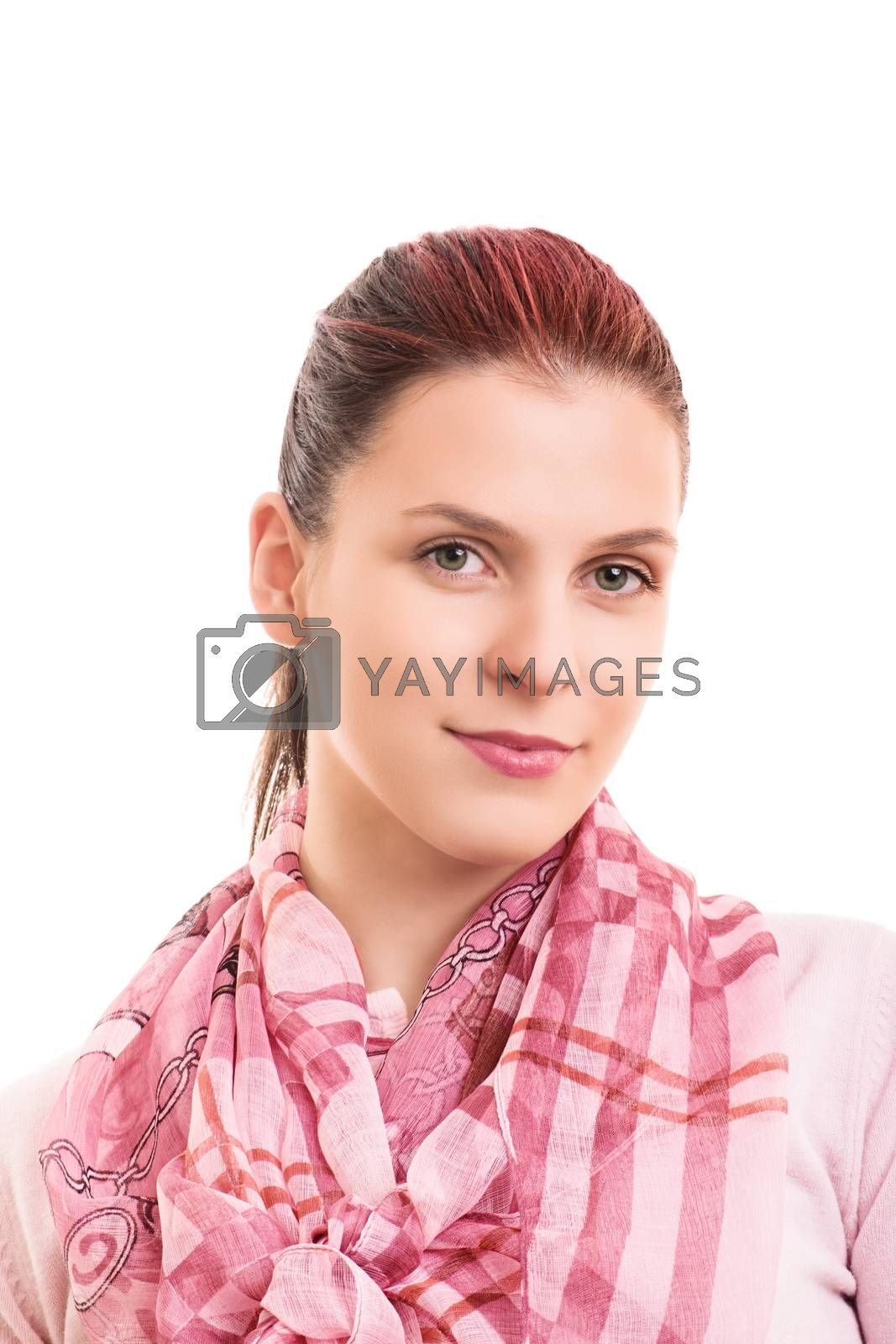 A portrait of a beautiful young girl wearing a scarf, isolated on white background.