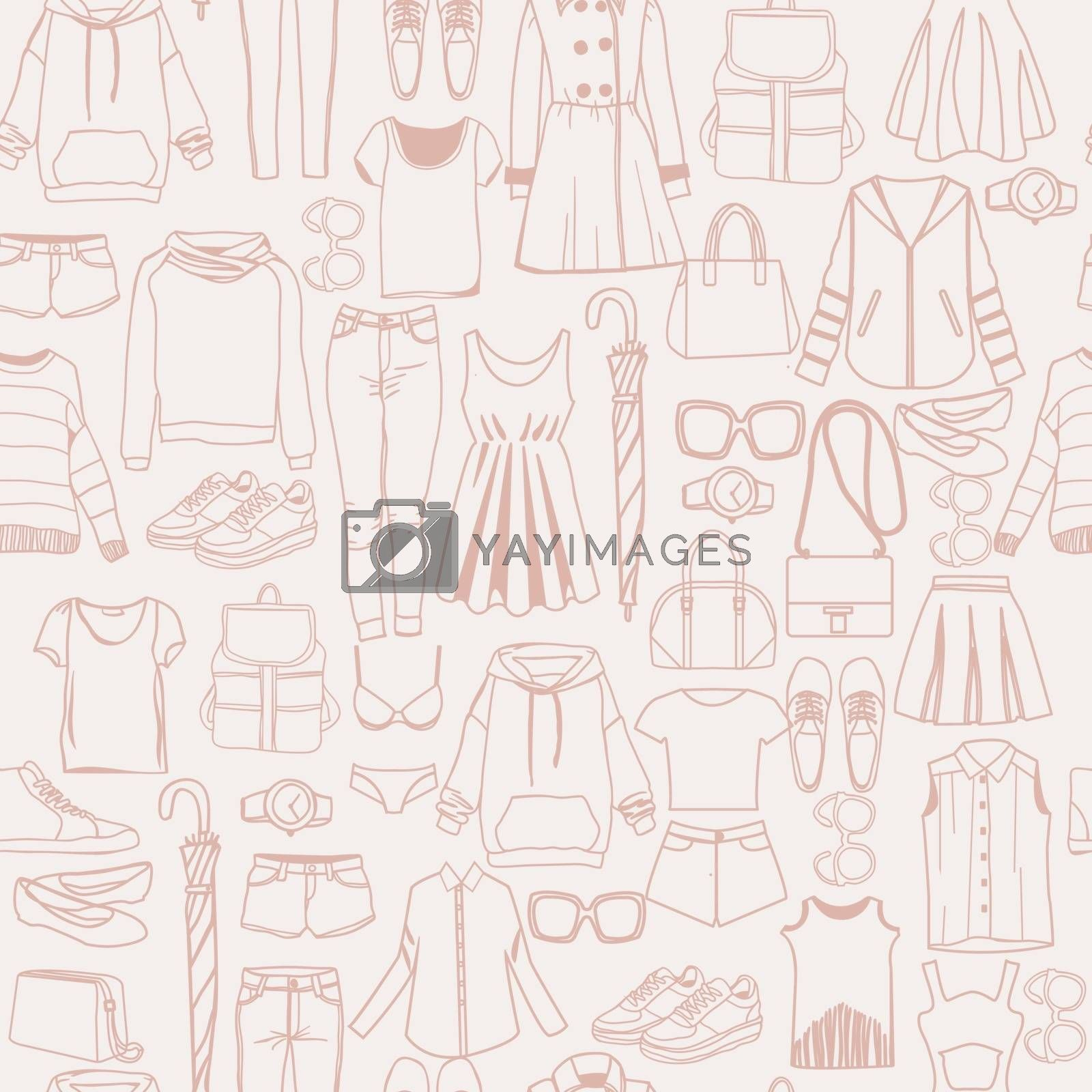 Vector hand drawn seamless pattern with Women fashion clothes and accessories doodle background. Perfect for card, posters, banners, textile prints, cover, web design.