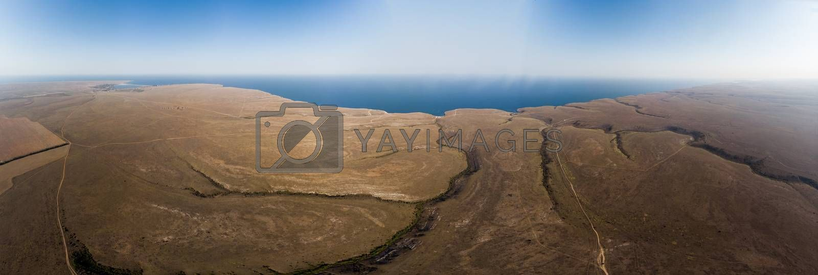 Aerial view of quiet, deserted place. without communication and civilization