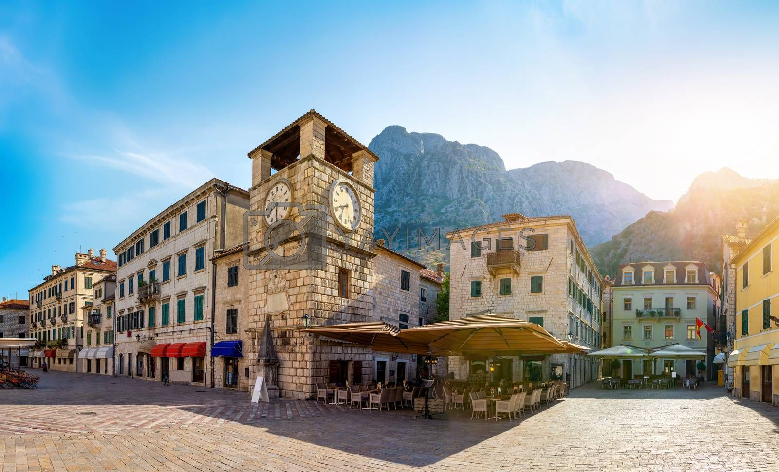 Clock Tower inside the old town of Kotor in Montenegro