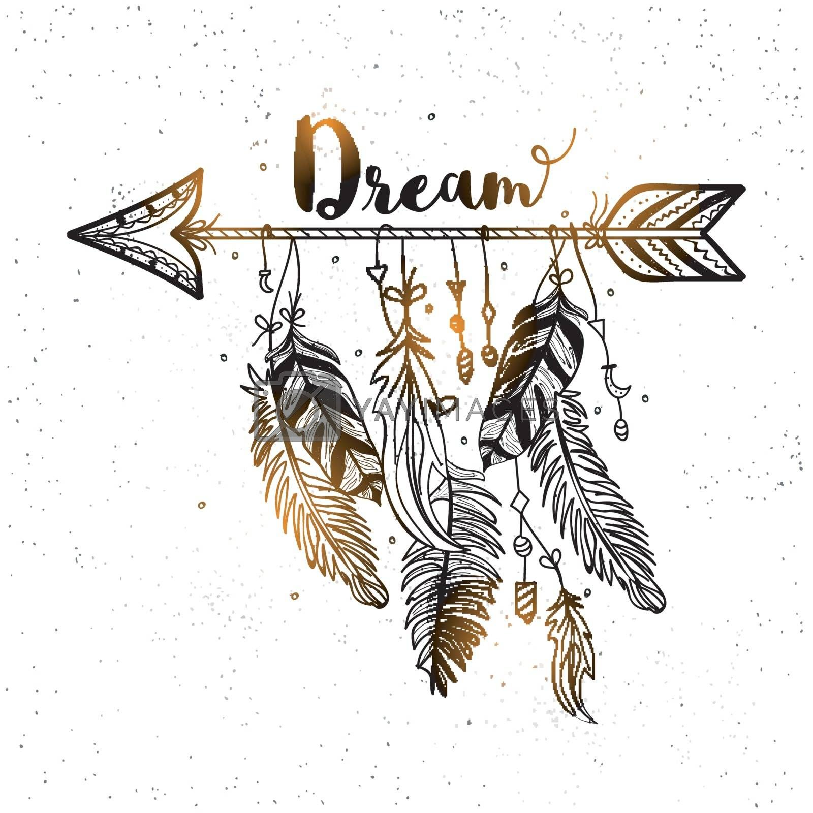 Boho style, Hand drawn dreamcatcher with ethnic arrow and beautiful feathers.