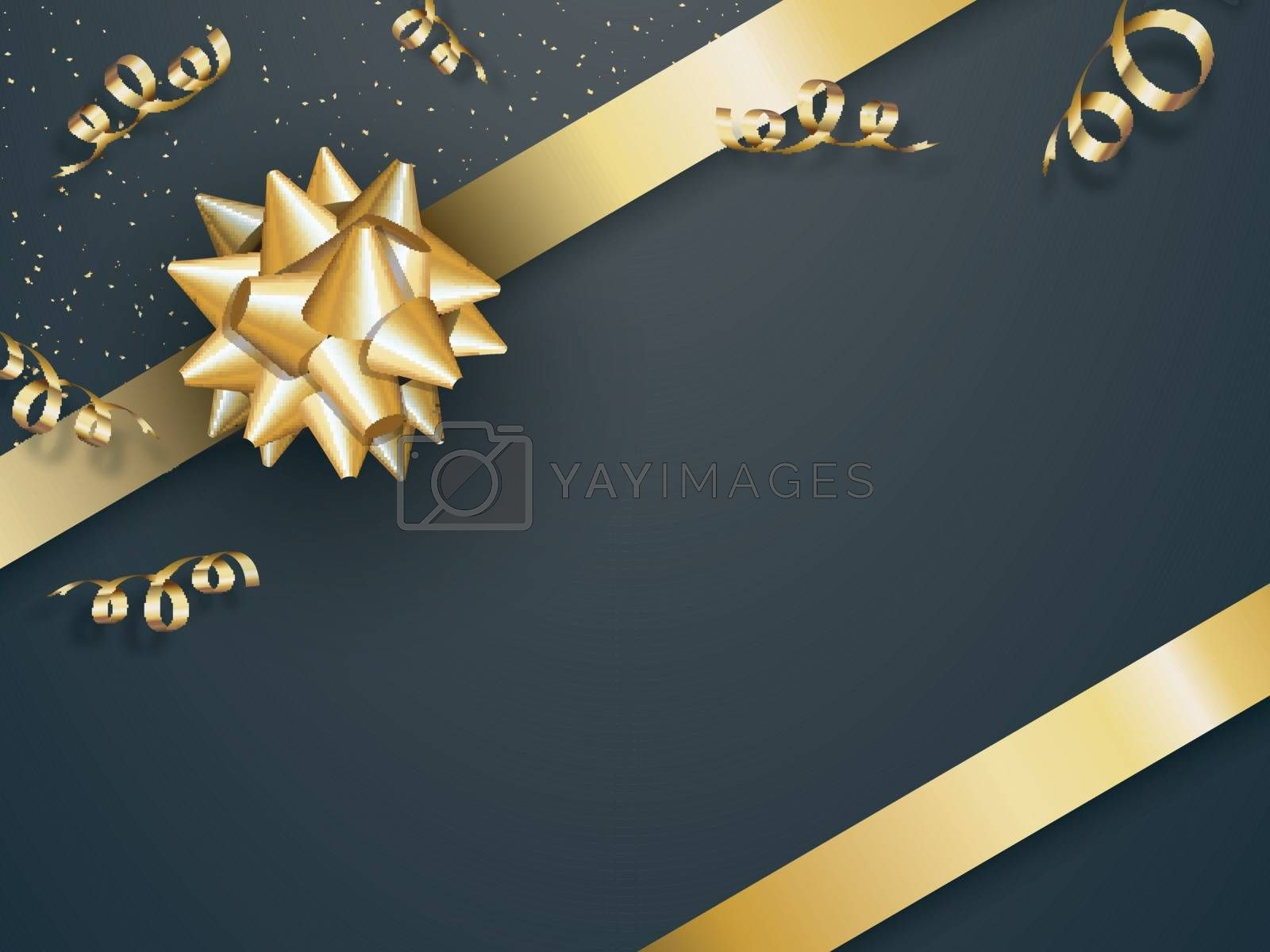 Celebration background decorated with golden ribbon and confetti.