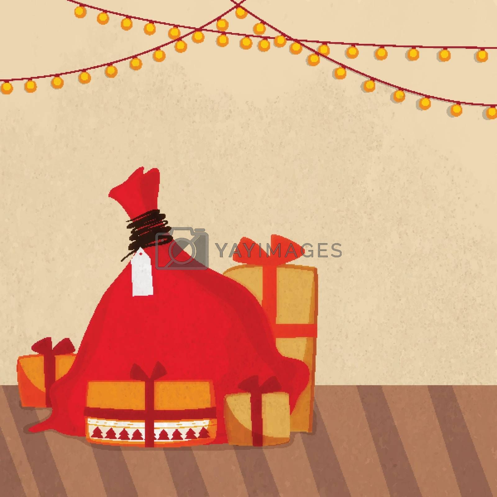 Merry Christmas celebration background with red gift sack and boxes on lights decorated background.
