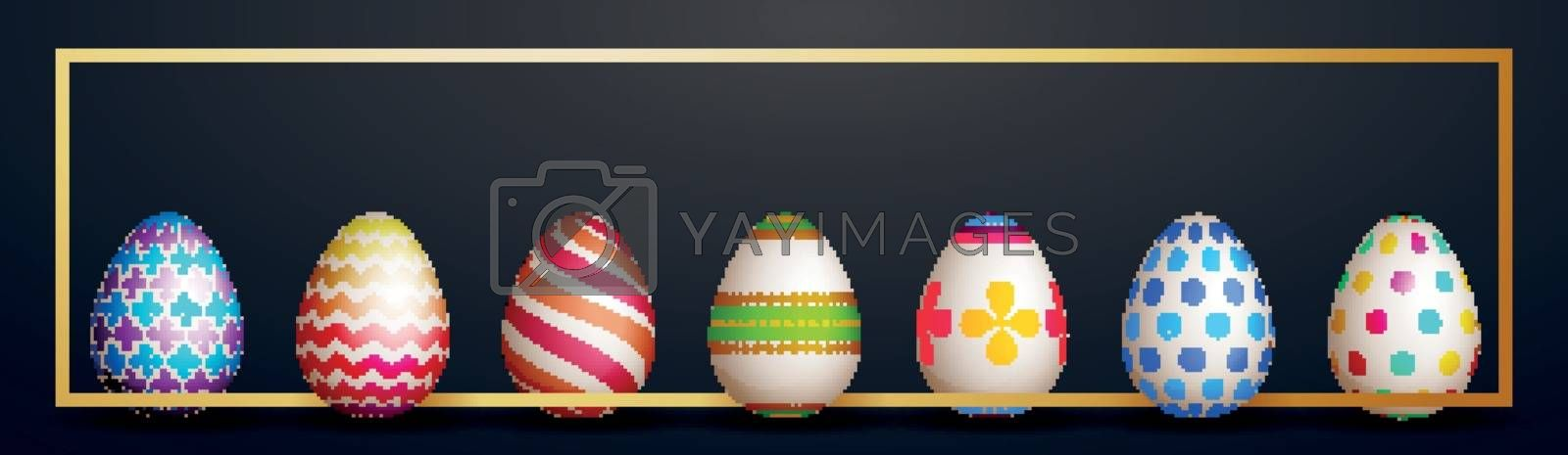 Easter banner design with colorful eggs.