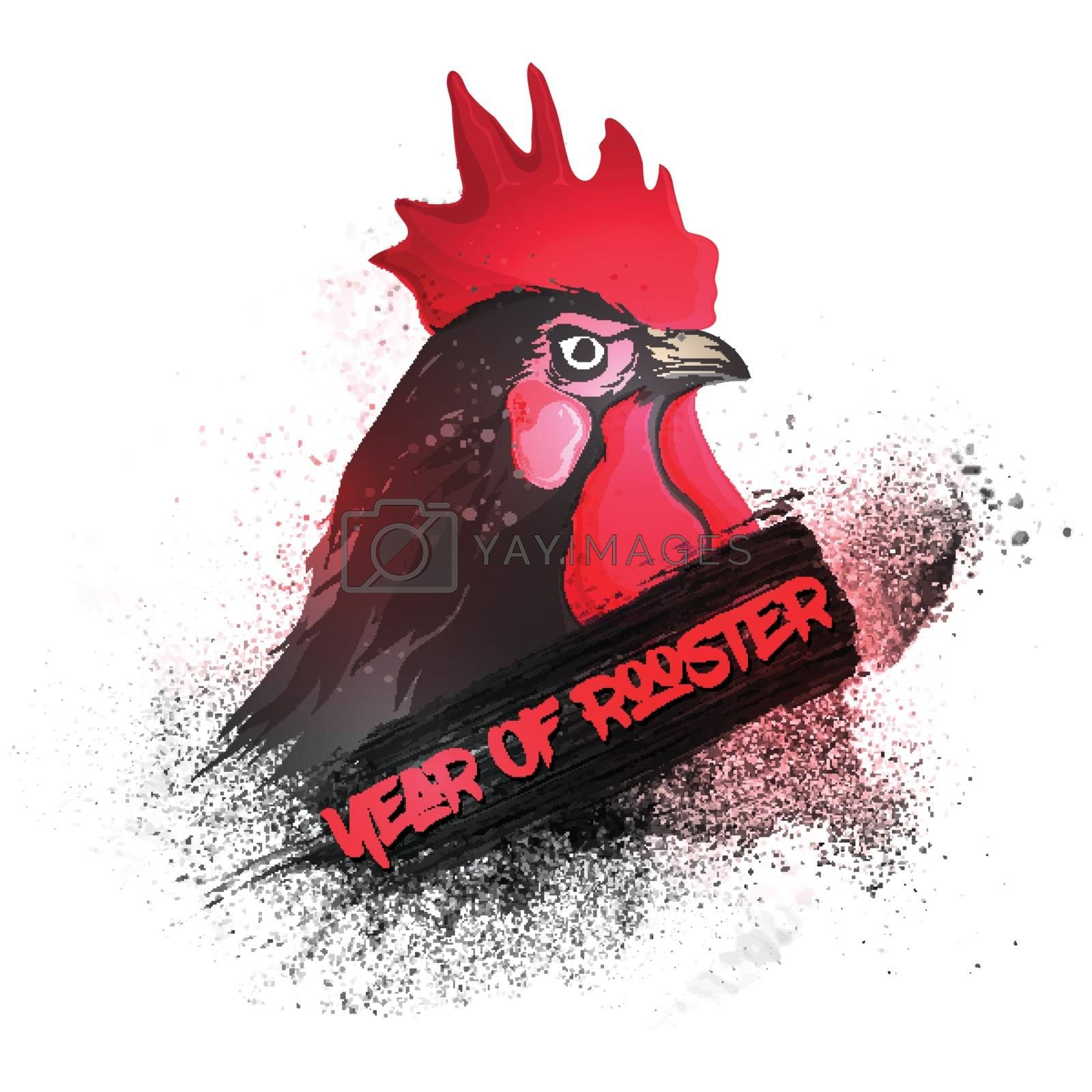 Creative illustration of a rooster for Chinese New Year celebration.