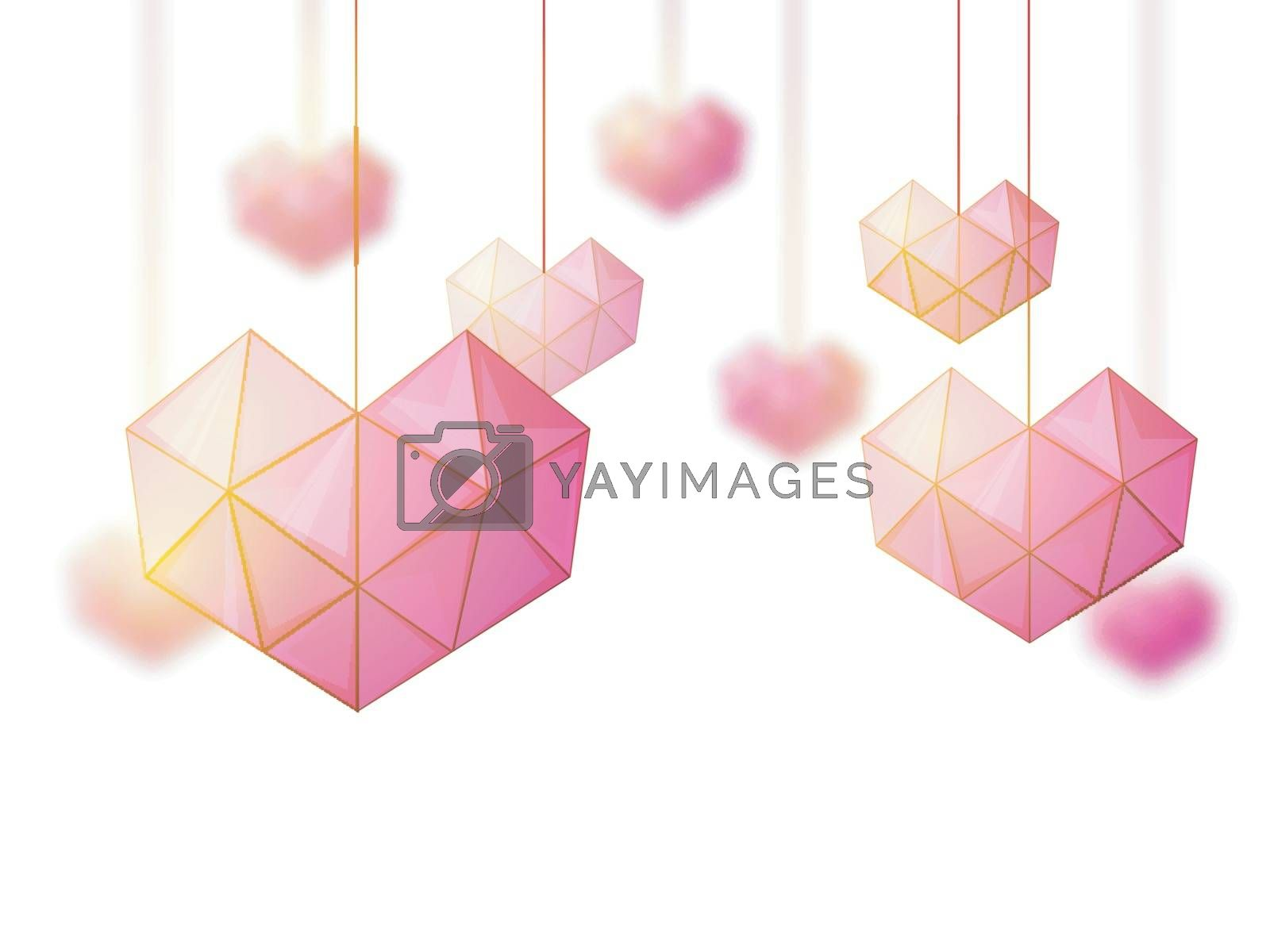 Creative Origami style hanging Hearts for Happy Valentine's Day Celebration.