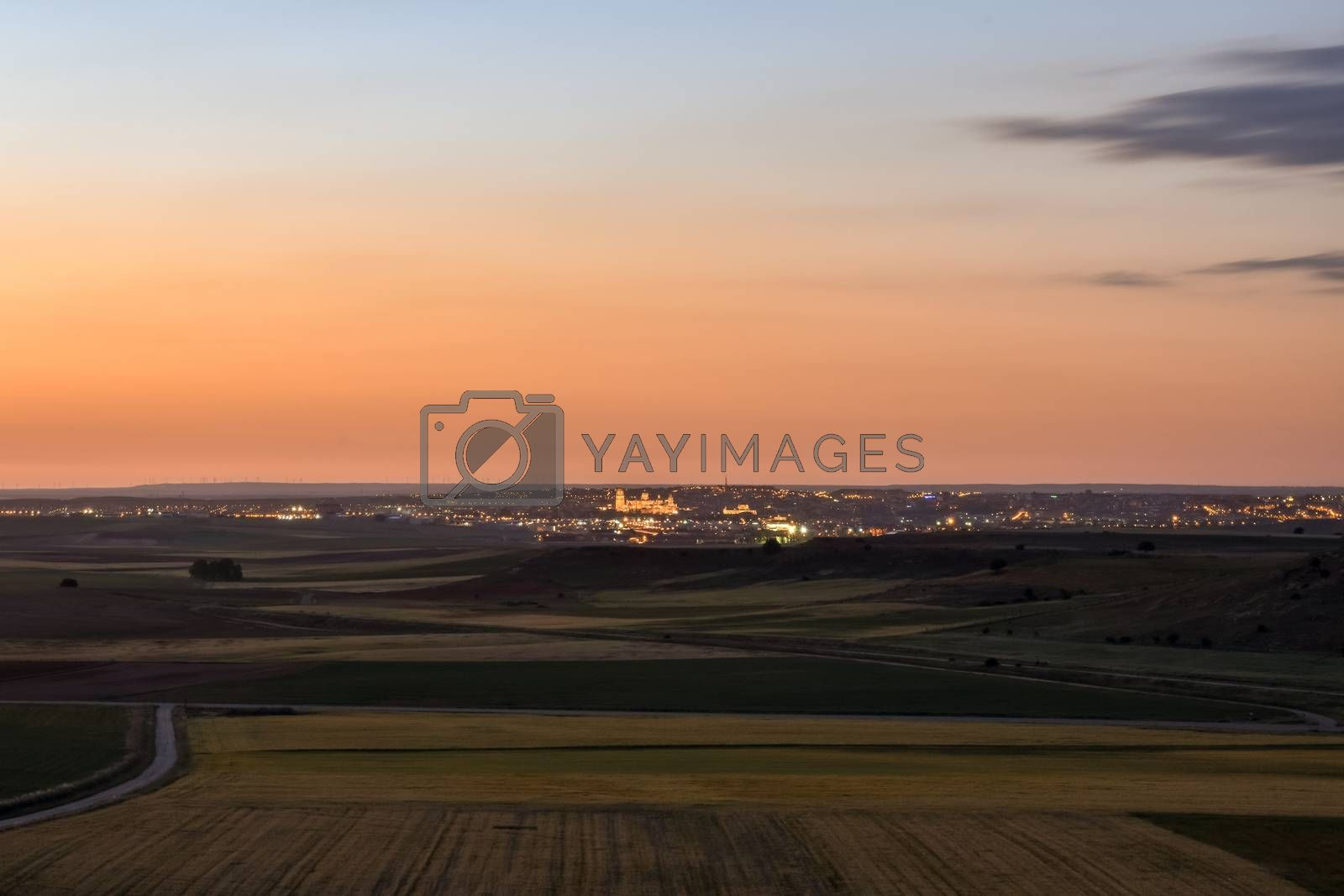 Countryside landscape with the city of Salamanca in the background, Spain