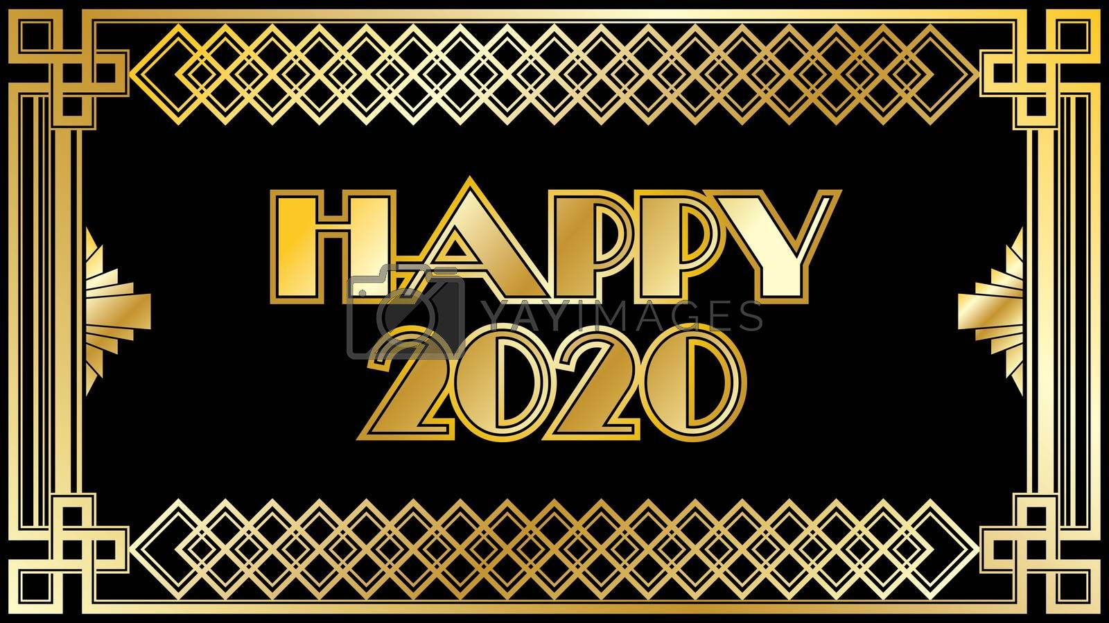 2020 New years Countdown clock changing numeral with festive background and gold type