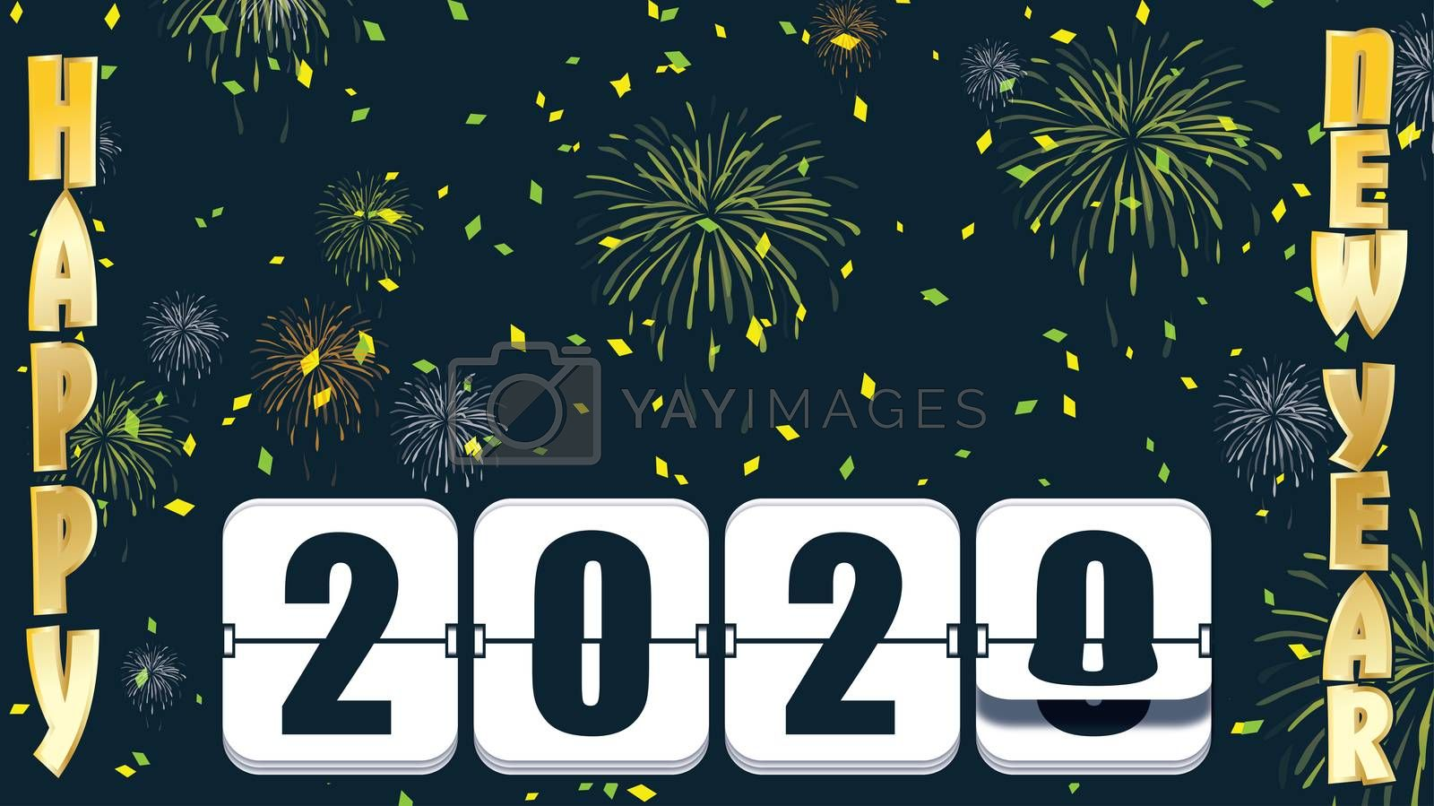 2019 New years Countdown clock changing numeral with festive background and flip type