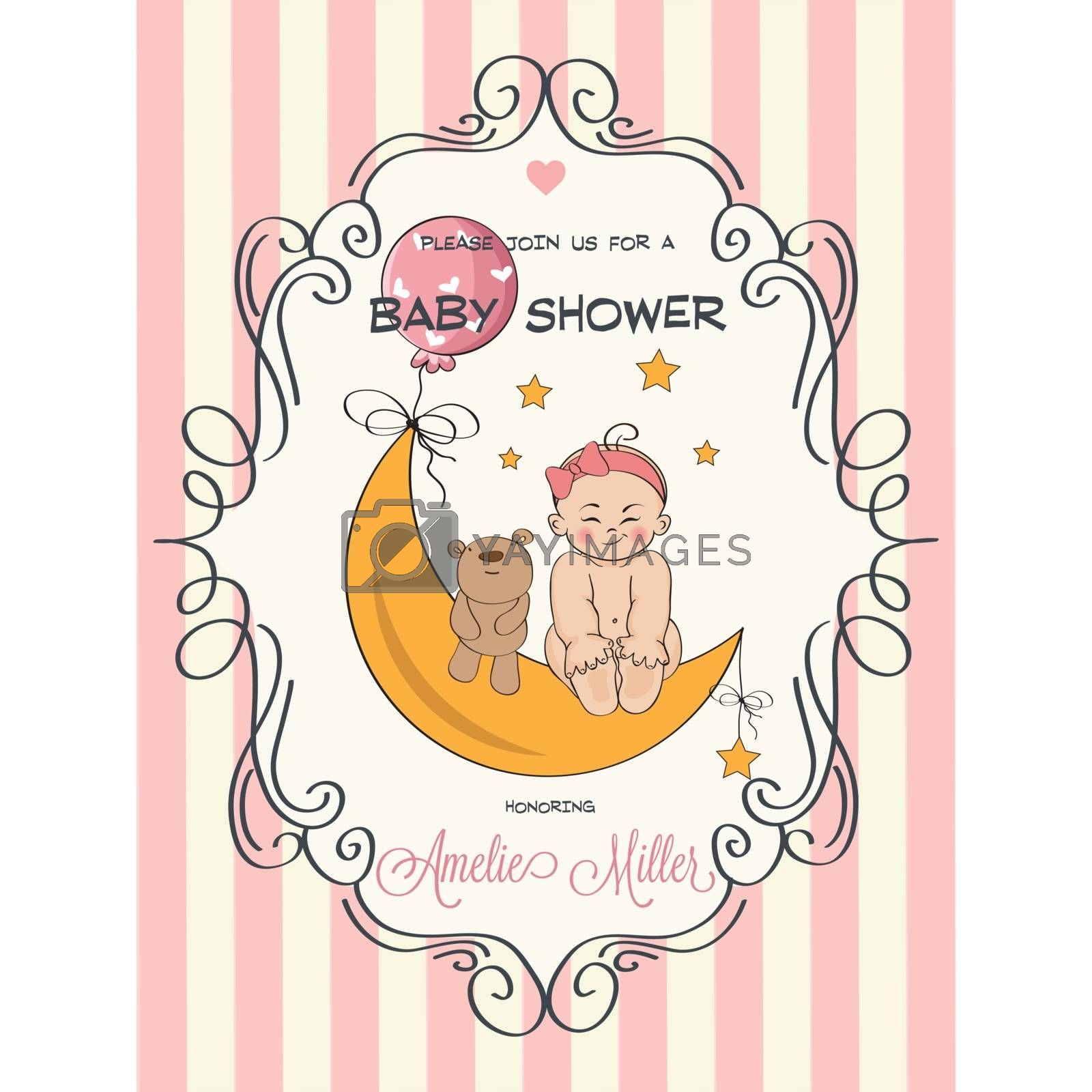 delicate baby girl shower card