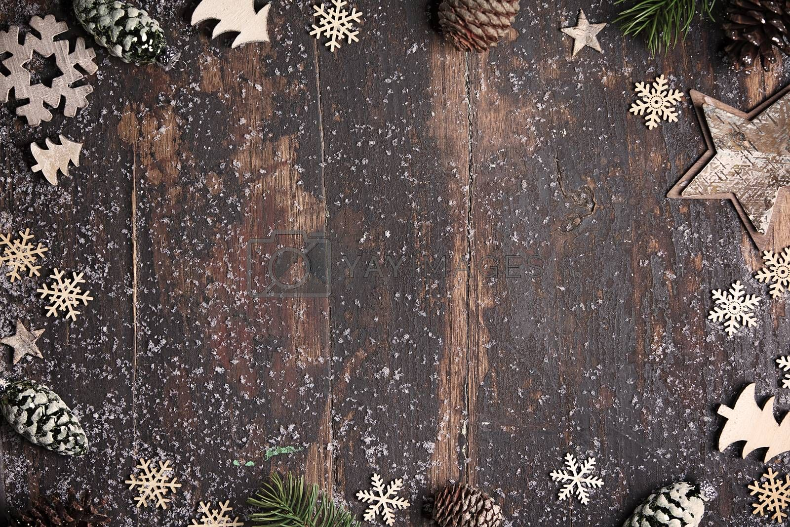 Christmas theme background in vintage style, flat lay