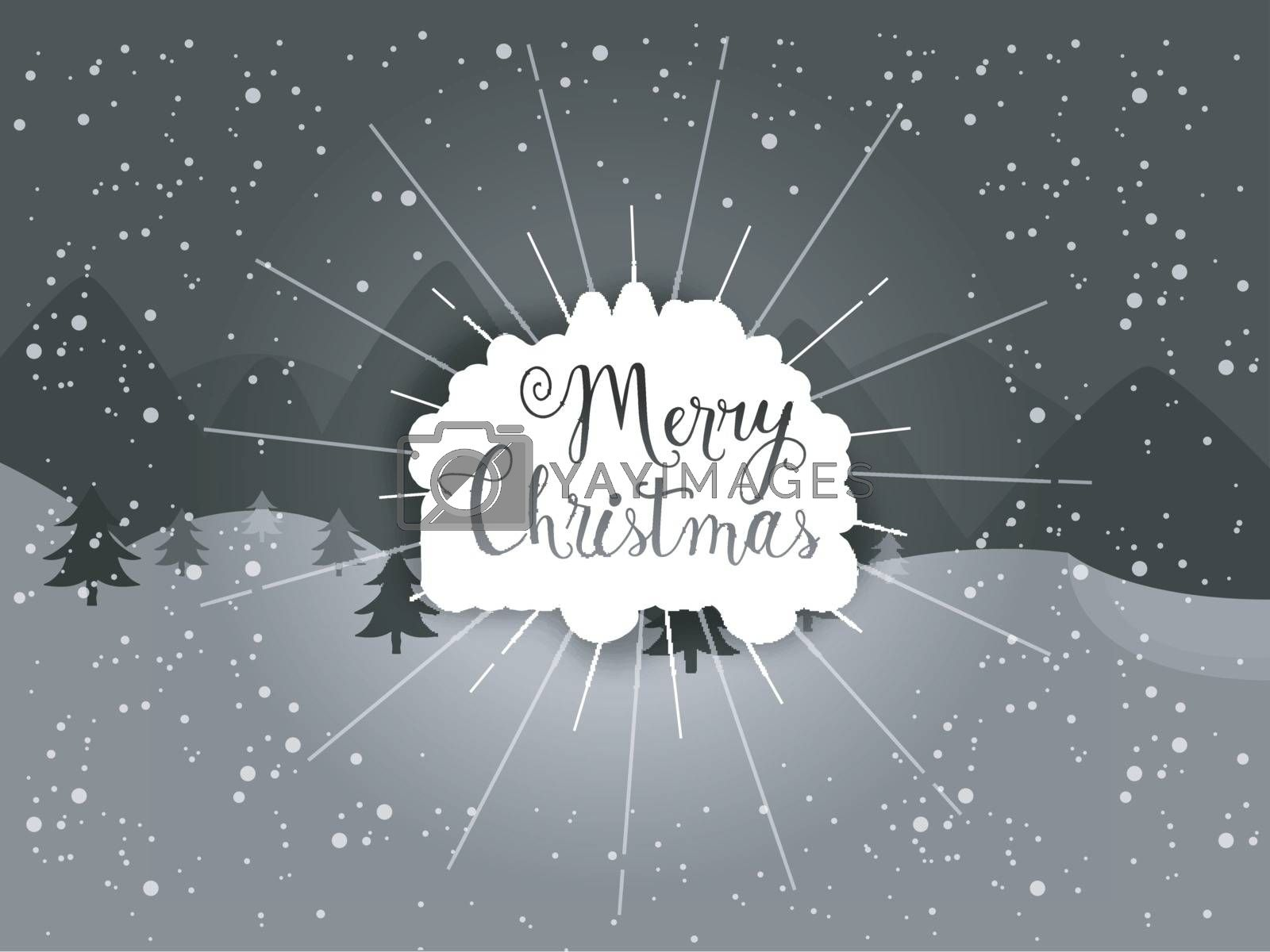 Greeting Card design with Stylish Text Merry Christmas on winter background.