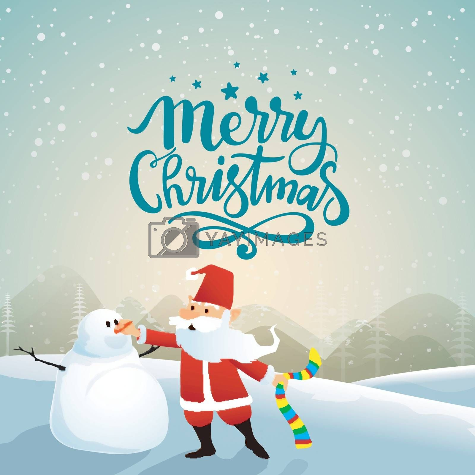 Santa Claus making snowman on winter background for Merry Christmas celebration.