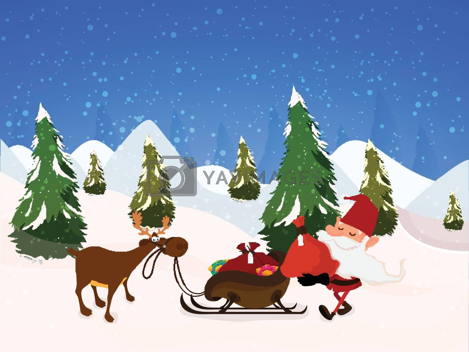Santa Claus putting gift sack in reindeer sleigh on snowy winter background for Merry Christmas celebration.