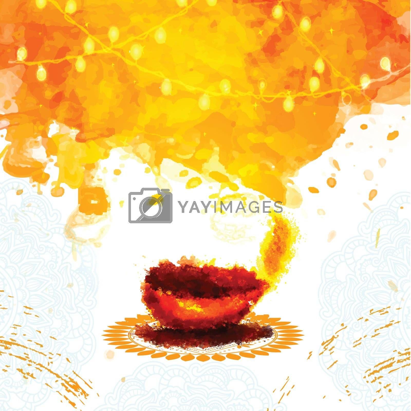 Happy Diwali celebration background with creative abstract Oil Lamp (Diya) and lights decoration, Elegant Greeting Card with space for your wishes.