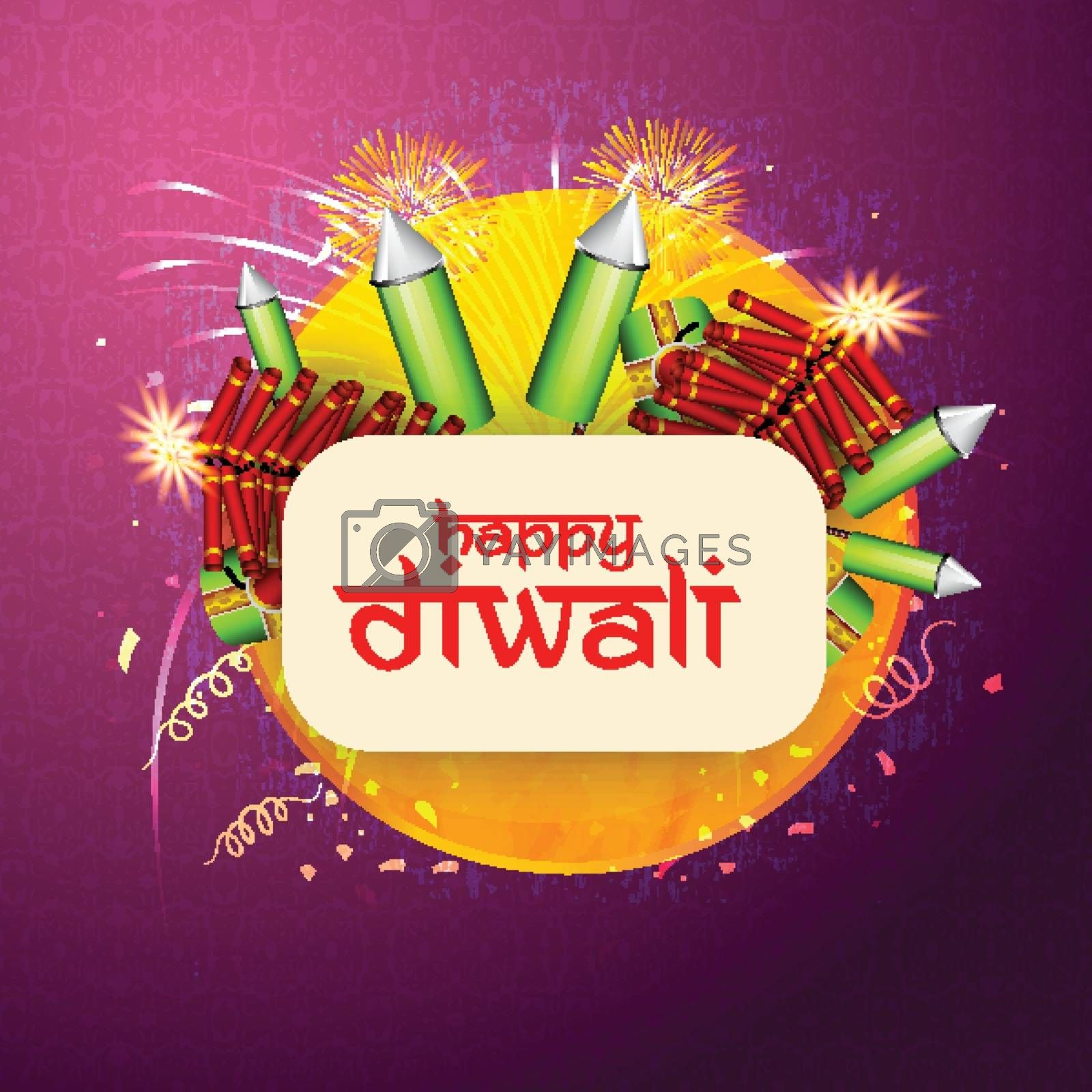Indian Festival of Lights, Happy Diwali celebration with various firecrackers on seamless backrground.