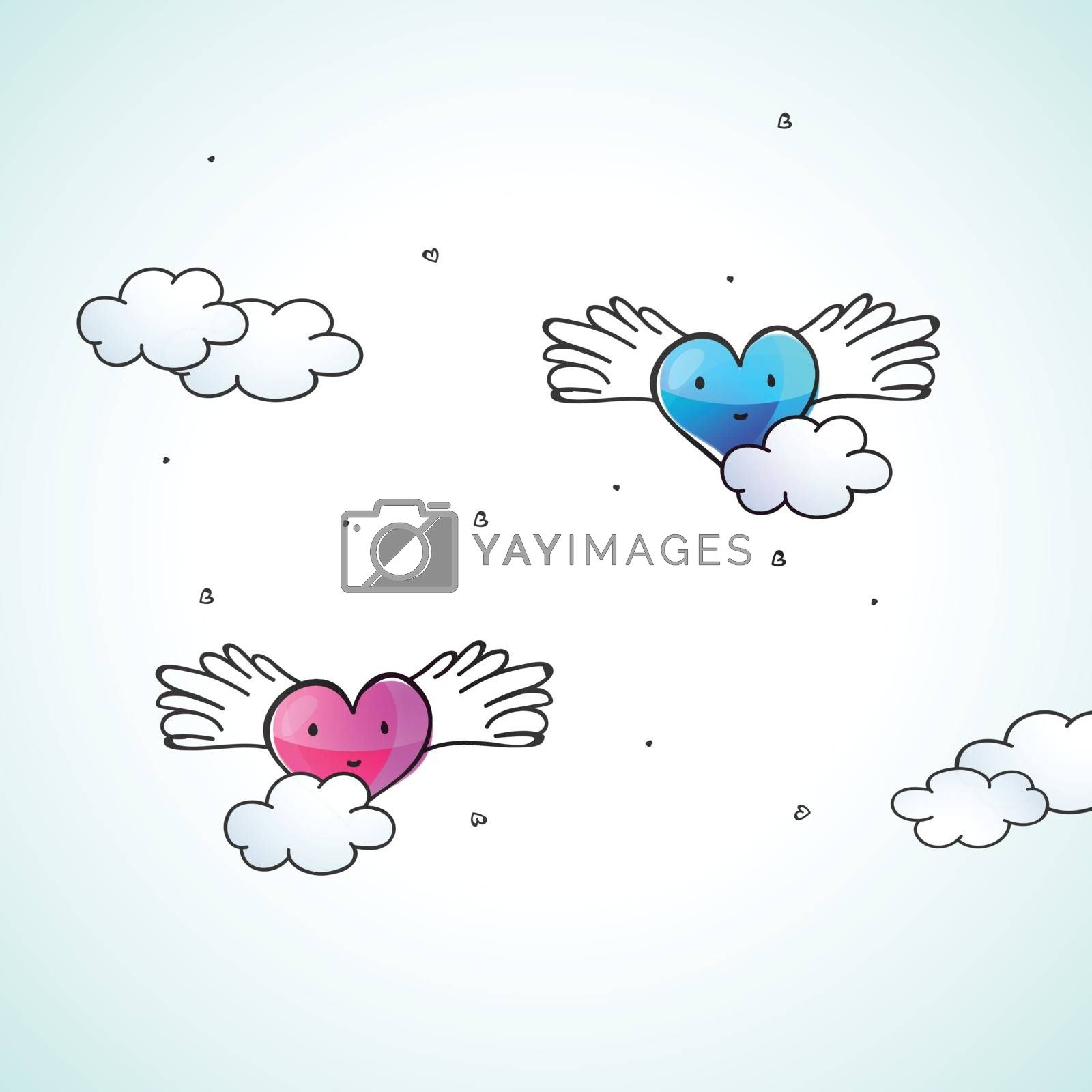 Creative Pink and Blue Hearts with Wings for Happy Valentine's Day Celebration.