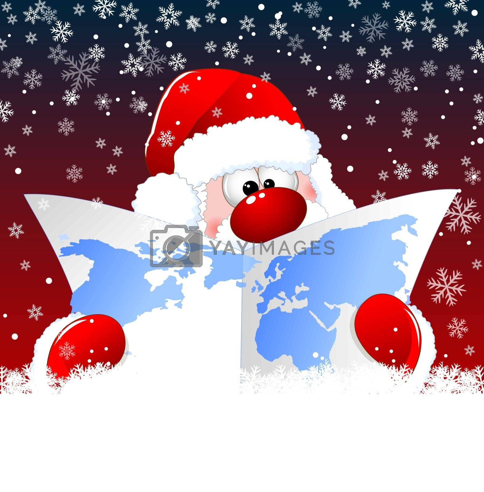 Santa Claus looks at a world map on a background of snowflakes. Santa is holding a world map.