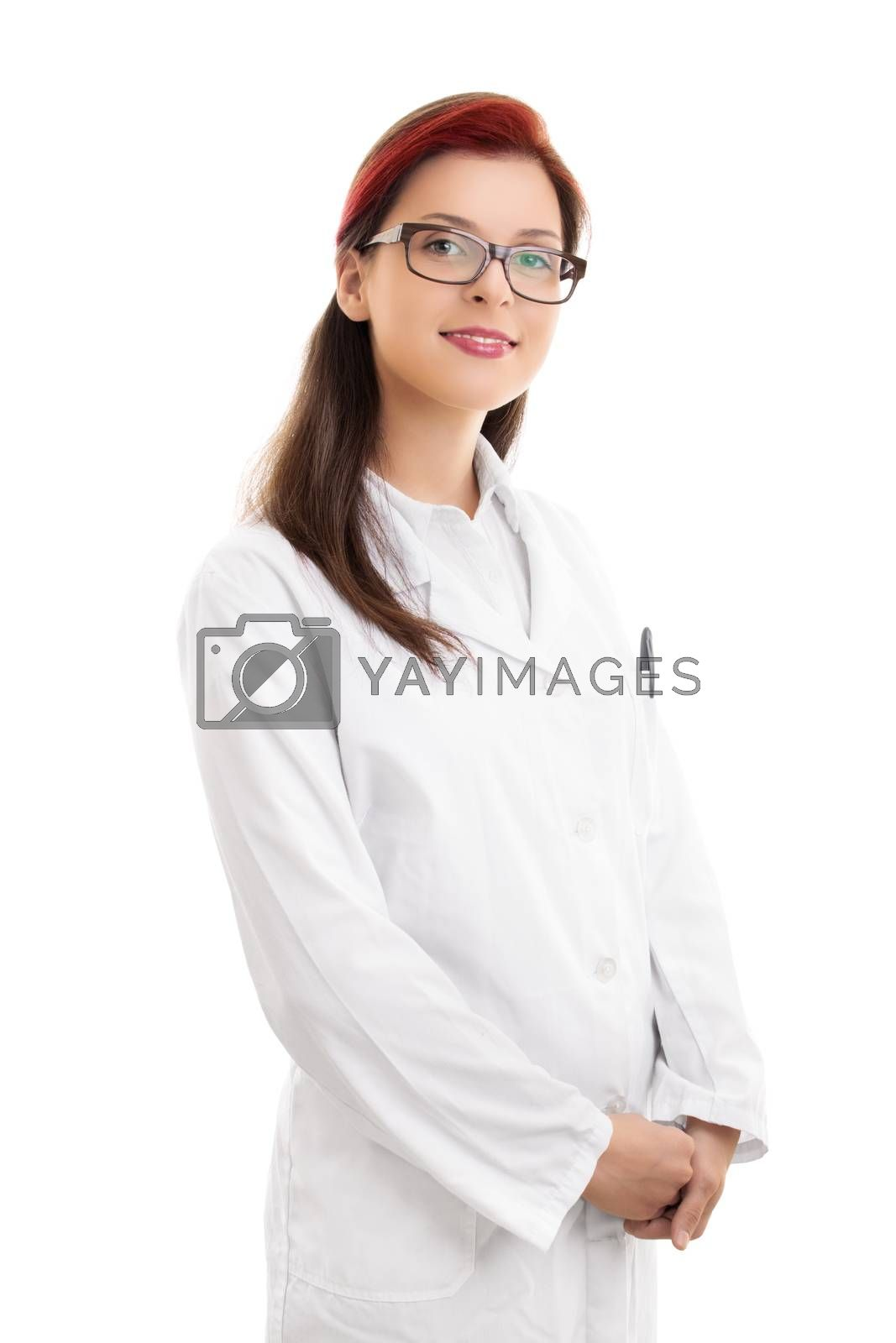 Medicine, science and profession concept. Portrait of a smiling young female doctor or scientist or pharmacist or chemist in white uniform coat, isolated on white background.