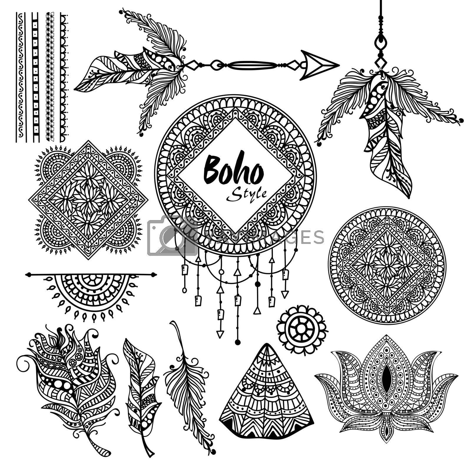 Set of creative Boho style elements. by aispl