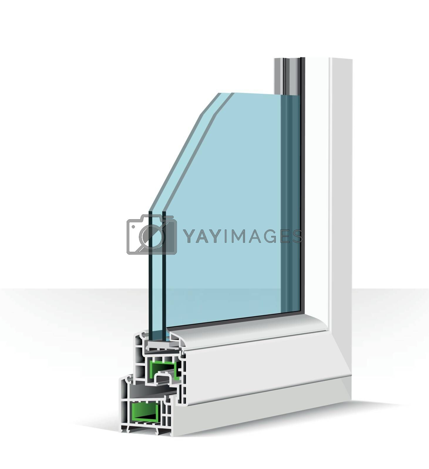 3d plastic window profile. Vector illustration on white background