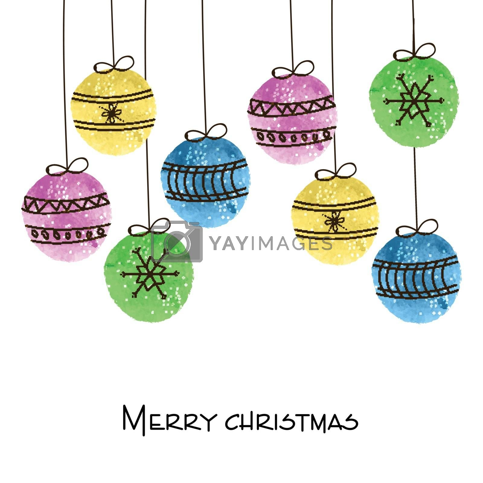 Elegant holiday background with colorful hanging xmas balls for Merry Christmas celebration.